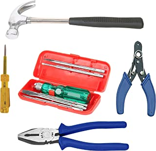 """Real stf Multi Hand Tool Kit 9 Pieces Combination Side Cutting Plier 8"""", Claw Hammer 1/2 lb, 5 Pc Screw Driver Kit, Wire S..."""