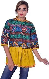 Lakkar Haveli - Chamarra India para Mujer, 100% algodón, Color Amarillo