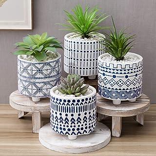 MyGift 4-inch Decorative White & Blue Mediterranean Style Geometric Pattern Succulent Flower Ceramic Planter Pots with Legs, Set of 4