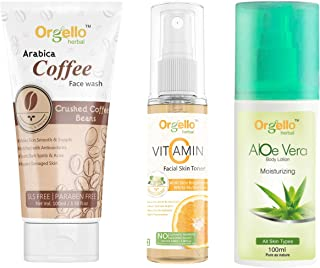Orgello Herbal Skin care combo products kit pack - Arabica Coffee Face Wash Cleanser (1 X 100 ml) + Vitamin C Spray Mist T...