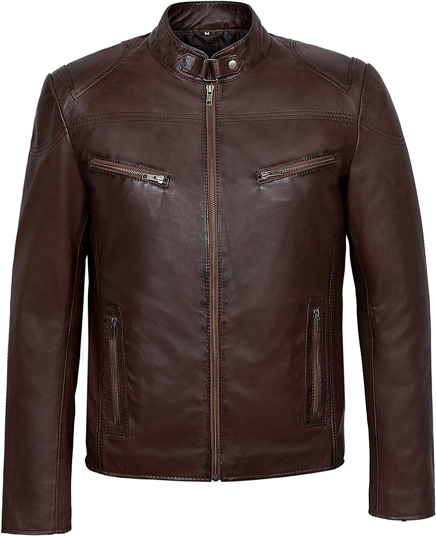 Smart Range 'Speed' Men's Brown Cool Retro Biker Style Motorcycle Soft Nappa Leather Jacket SR-02
