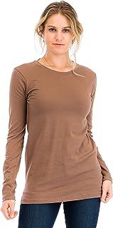 NANAVA Casual Cotton Crew Neck Long Sleeve T-Shirt Top Mocha 3X