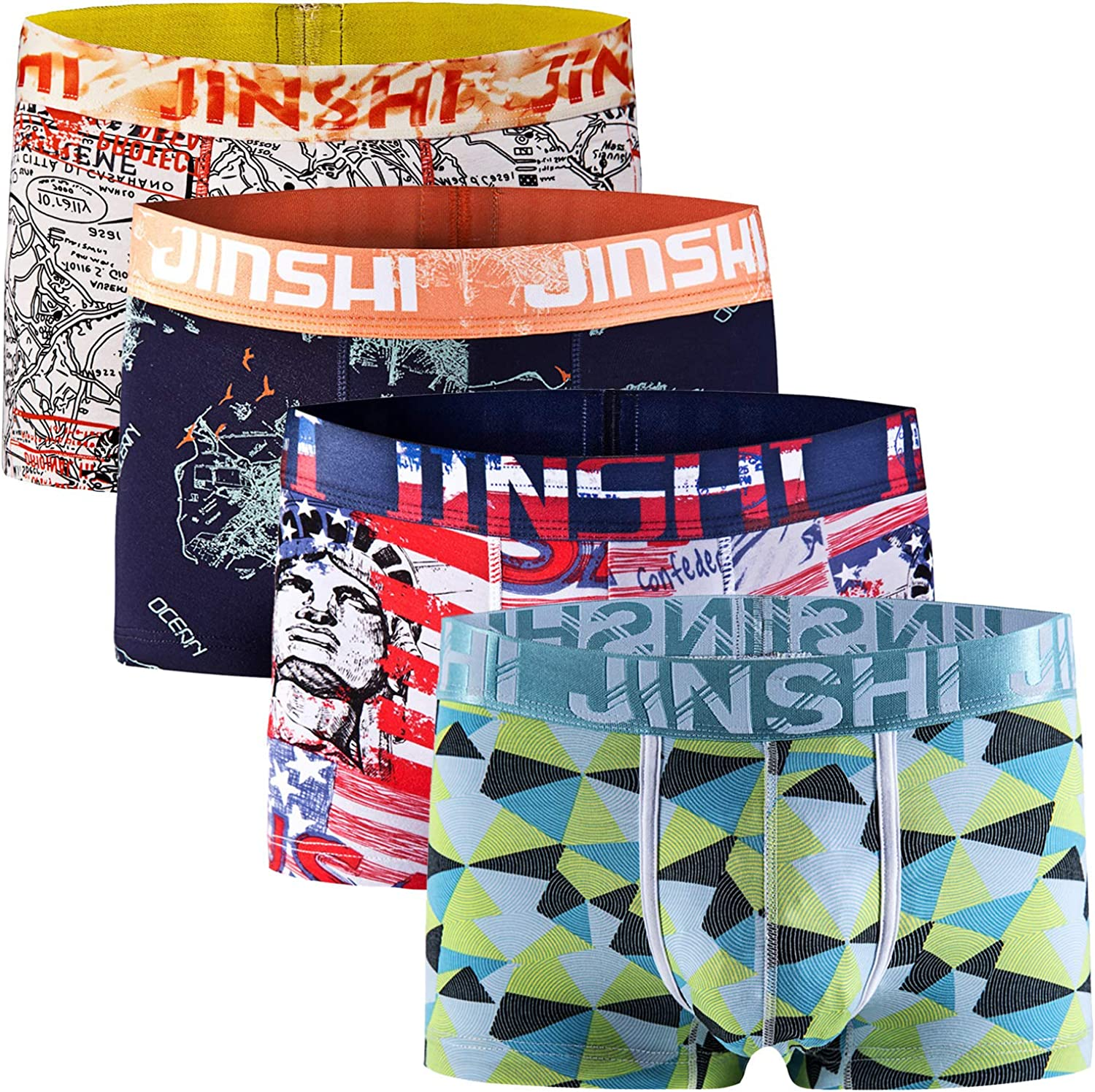 JINSHI Mens Boxer Breifs Bamboo Underwear Trunks Comfortable Breathable 4-Pack