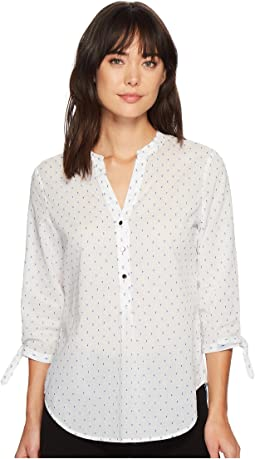 Polka Dot Button Up Shiritng w/ Tied Sleeves and Open Hem