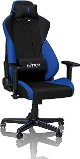 Nitro Concepts S300 Silla de Gaming - Silla de Oficina - 135 kg - Reclinable de 90 ° a 135 ° - Apoyabrazos & Altura Ajustables - Negro/Azul