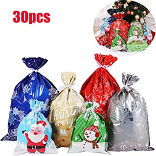 Cabilock 30pcs Bags Holiday Treats Bags Gift Wrapping Bags Christmas Party Favor Goody Bags with 30pcs Ribbon Ties