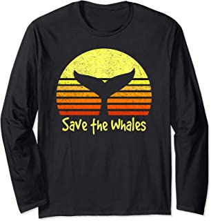 Save The Whales Nautical Ocean Killer Whale Conservation II Long Sleeve T-Shirt