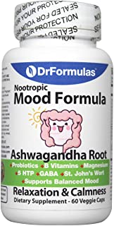 DrFormulas Mood Boost Probiotics with Stress B Complex Vitamins for Kids, Women, Men | Nexabiotic Supplement with Ashwagan...
