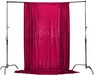 Poise3EHome 10FT x 10FT Sequin Photography Backdrop Curtain for Party Decoration, Hot Pink