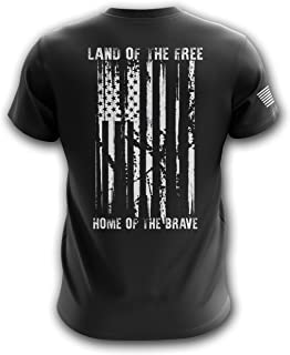 Land of The Free American Flag Military Army Mens T Shirt Home of The Brave Made in USA