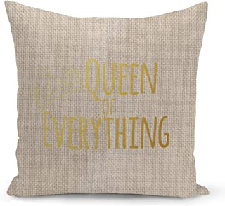 Queen of everything Beige Linen Pillow with Metalic Gold Foil Print Girls Couch Pillows