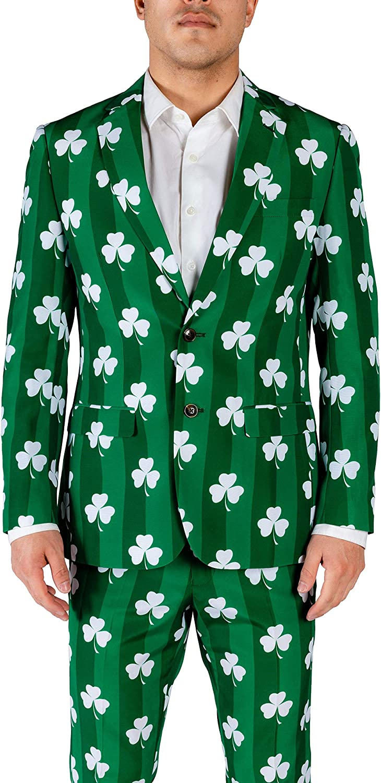 Shinesty Mens St. Patrick's Day Green Clover Blazer The Irish Goodbye