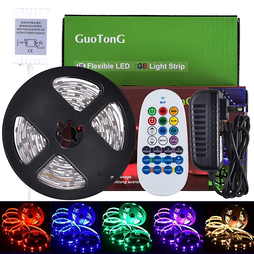 GuoTonG 16.4ft/5m LED Strip Light Kit, 150 Units RGB 5050 Leds, Color Changing, Non-Waterproof 12V DC Light Strips,For Christmas Holiday Home Kitchen Car