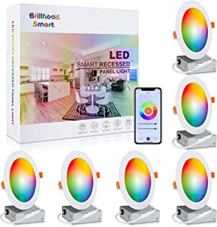 Brillihood 6 Inch Color Changing Ultra-Thin LED Recessed Ceiling Light, Smart WiFi Retrofit Downlights with Junction Box, ...