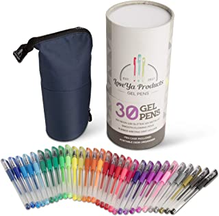 30 Gel Pen Gift Set, Neon, Glitter, Metallic & Pastel with Portable Desk Organiser Pen Case by LoveYa Products
