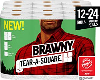Brawny Tear-A-Square Paper Towels, 12 = 24 Regular Rolls, 3 Sheet Size Options, Quarter..