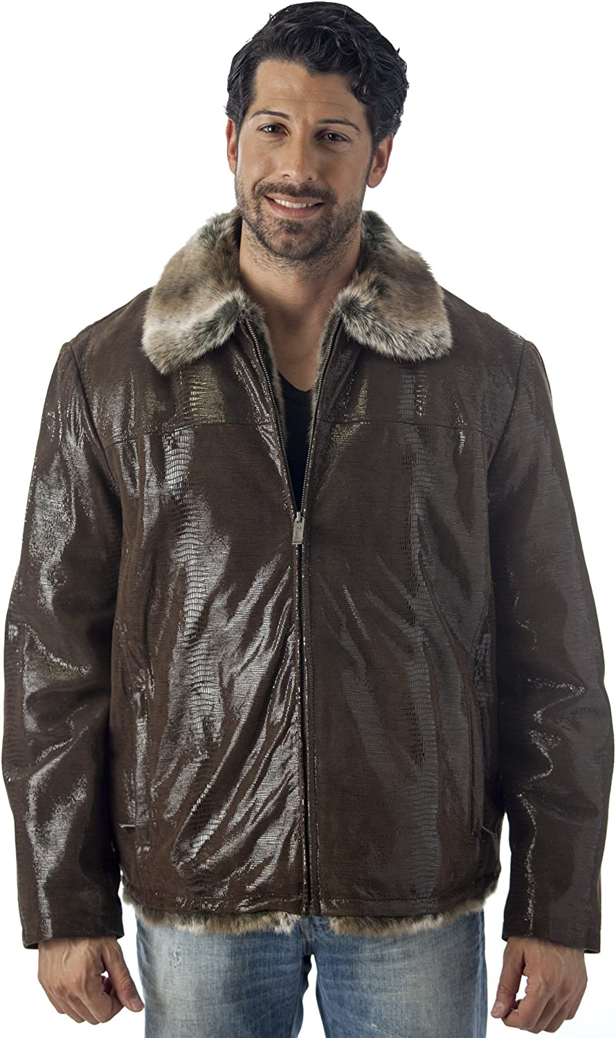 REED Men's Sheep Skin Leather Jacket Shearling Style