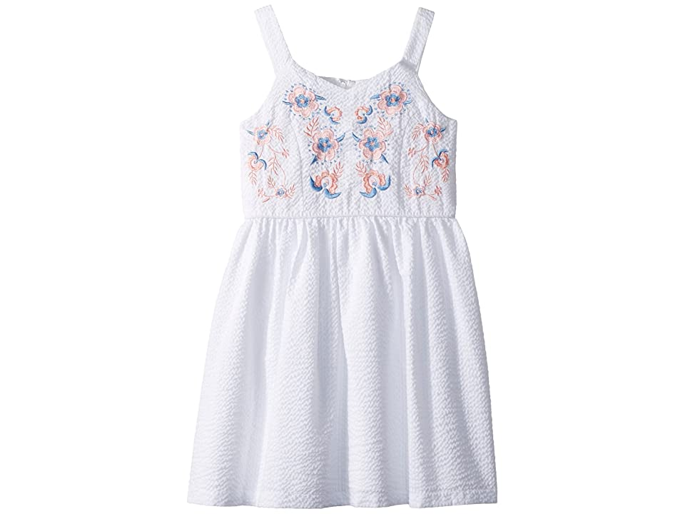 Us Angels Seersucker Dress (Big Kids) (White) Girl