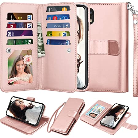 """Njjex Wallet Case for iPhone XR, for iPhone XR Case, PU Leather [9 Card Slots] ID Credit Holder Folio Flip Cover [Detachable][Kickstand] Magnetic Phone Case & Lanyard for iPhone XR 6.1"""" [Rose Gold]"""