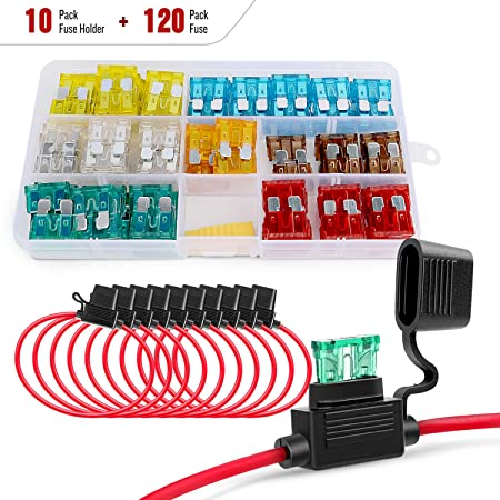 Nilight - 50029R 120 Pcs Standard Blade Fuse 5A/7.5A/10A/15A/20A/25A/30A AMP Assorted Set with 10 Pack 14AWG ATC/ATO Inline Fuse Holder, 2 Years Warranty