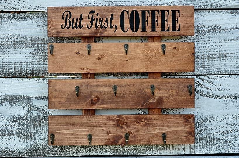Rustic Wood Coffee Cup Rack your Color Choice 12 Mug Hooks Large Wall Mounted Mug Storage But First Coffee