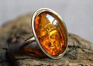 MJ Baltica anello Argento 925 e Ambra Naturale regolabile grande BP035
