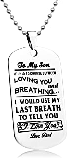 LITTONE Love Gift Necklace to My Son Dog Tag Be The Man I Know You Can Be Love Dad Military Chains Pendants LNH9536#