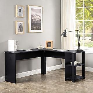 SSLine L Shaped Computer Desk,Modern L Shaped Corner Desk with Storage Shelf,PC Laptop Study Desk for PC Computer, Study W...