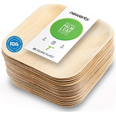 """Bamboo Leaf Plates 10/""""Square48Count Ecofriendly Upscale Disposable Dinner Plates"""