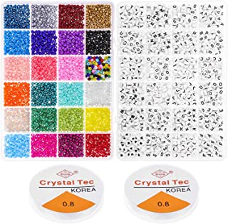 Beads for Bracelets, Cridoz 2800 Pcs 4mm Small Pony Beads with 1200 Pcs Alphabet Letter Beads for Jewelry Bracelets Making