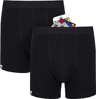 Prueba de carterista de los hombres Anti robo dinero de viaje Pantalones cortos de ropa interior con gran bolsillo secreto. 2 Paquetes (Negro)