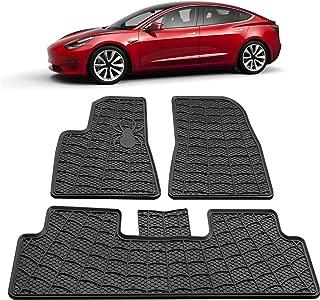 Model 3 All Weather Waterproof Floor Mats Compatible for Tesla Model 3 - Heavy Duty - Black Rubber Environmental Materials Car Carpet Model 3 (3 Piece a Set) (2D Floor mats)