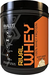 Rivalus Rivalwhey – Soft Serve Vanilla 1lb  - 100% Whey Protein, Whey Protein Isolate Primary Source, Clean Nutritional Profile, BCAAs, No Banned Substances, Made in USA