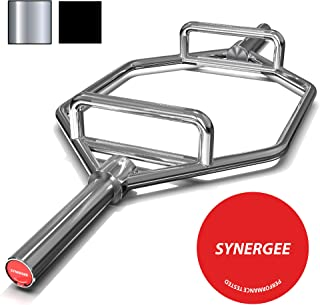 "Synergee 25kg Chrome & Black Olympic Hex Barbell Trap Bar with Two Handles for Squats, Deadlifts, Shrugs and Power Pulls. 56"" Long Bar with 10"" Sleeve."