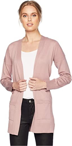 Long Sleeve Drop Shoulder Open Cardigan w/ Pockets and Side Rib
