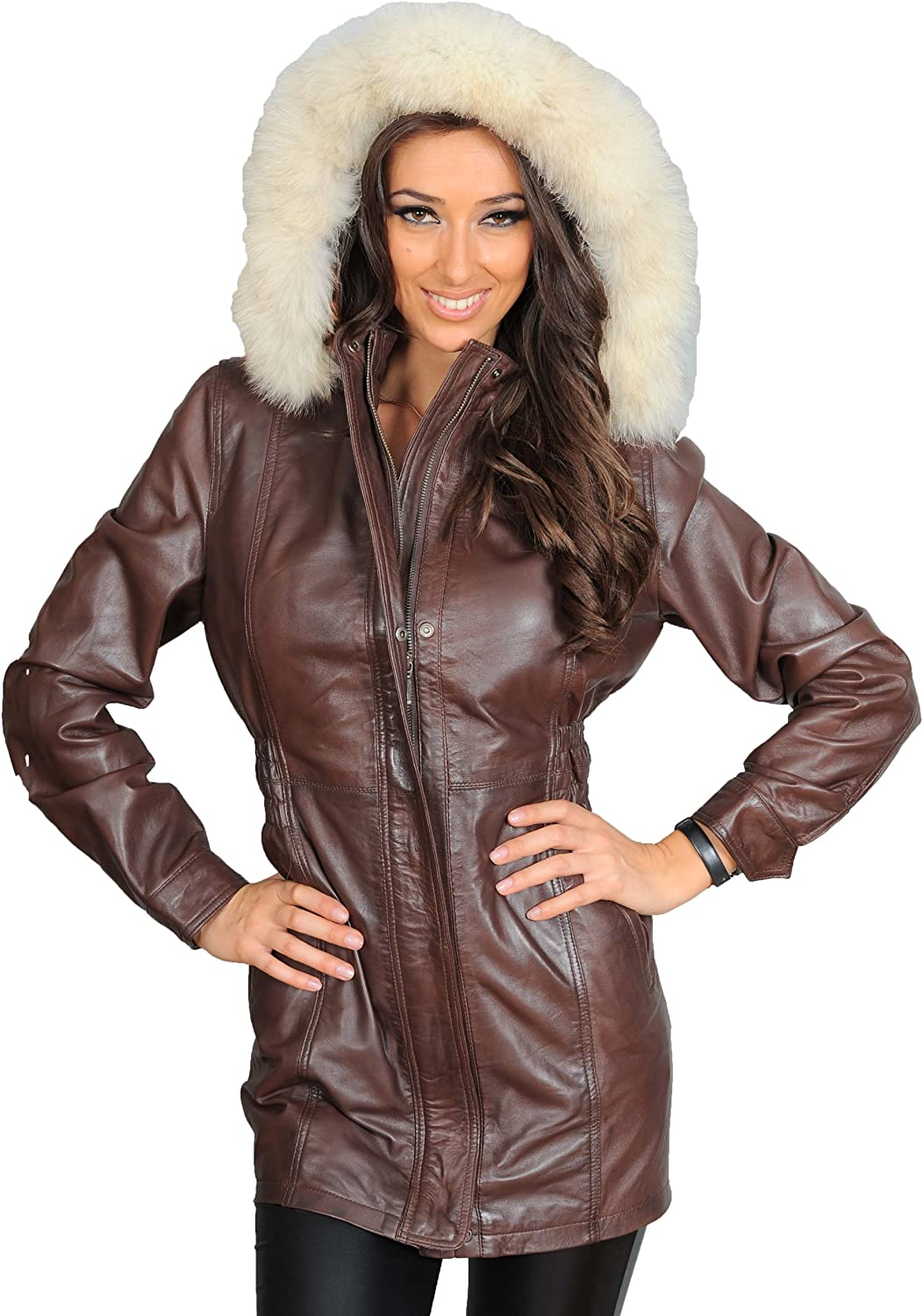 A1 FASHION GOODS Ladies Duffle Leather Coat Hooded Fitted 3 4 Long Parka Jacket Nina