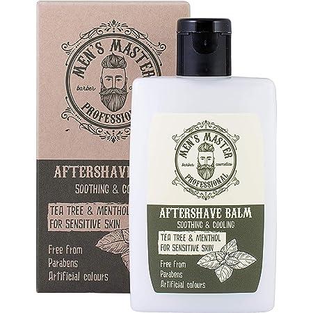 """Bálsamo Aftershave en Crema""""Árbol de té y mentol"""" para después del afeitado, para pieles sensibles con efecto refrescante. Sin parabenos, sin colorantes artificiales, 120 ml de Men's Master."""