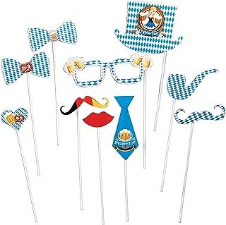 Oktoberfest Mini Photo Booth Props Kit Cutouts- German Beer Festival Decorations - 10 Ct