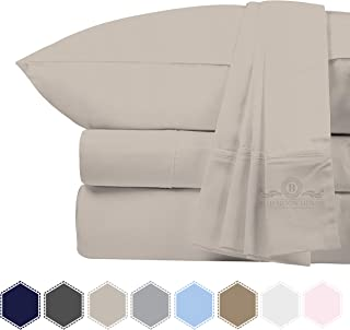 Bluemoon Homes 800 Thread Count 100% Egyptian Cotton 4 PC Solid Pattern Bed Sheet Set, Long Staple Combed Cotton for Soft & Silky Sateen Weave, Fits Mattress Upto 18'' DEEP Pocket (Ivory, Cal-King)