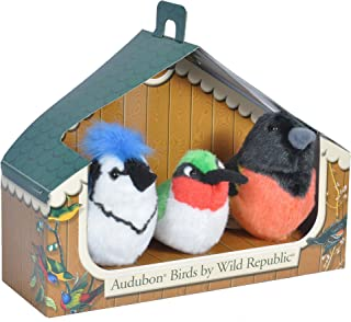Wild Republic Audubon Birds Collection with Authentic Bird Sounds, Hummingbird, Blue Jay and Baltimore Oriole, Bird Toys f...
