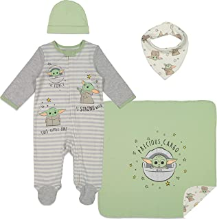 Mandalorian The Child Layette Gift Set Footies Blanket...