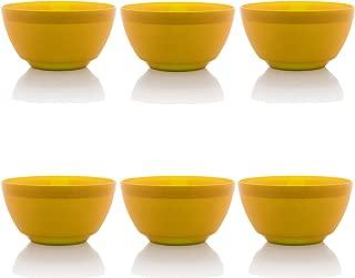 Ou Premium Design- Unbreakable Luna Bowls, Set of 6 (17 oz, Yellow)