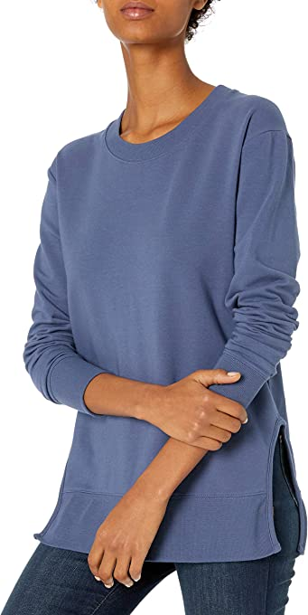 Daily Ritual Amazon Brand Women's Terry Cotton and Modal Pullover with Side Cutouts