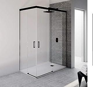 VAROBATH.Mampara de ducha rectangular con cristal transparente 6 mm y perfil acabado en negro. (70 a 90 x 100 a 109)