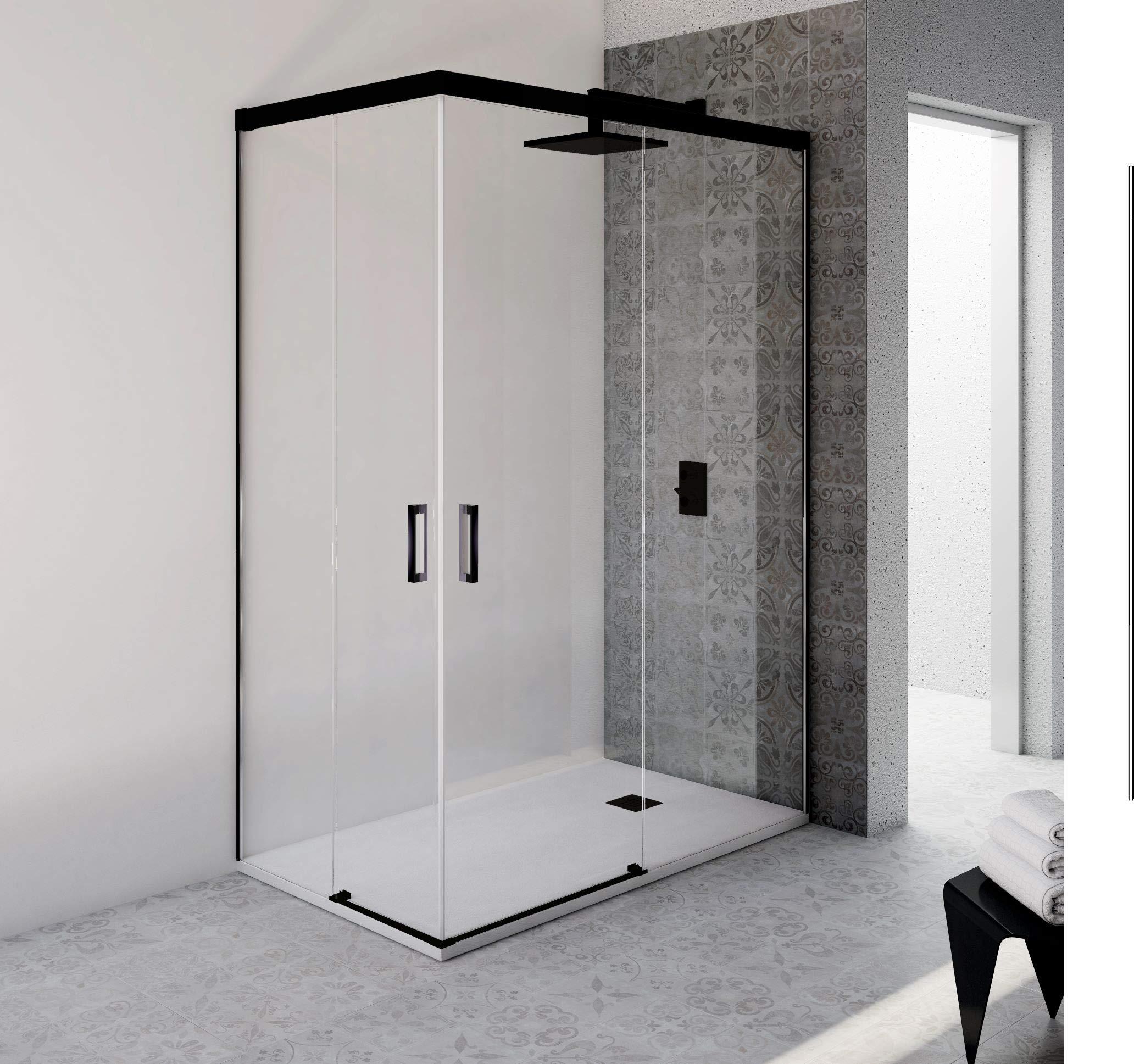 VAROBATH.Mampara de ducha rectangular con cristal transparente 6 mm y perfil acabado en negro. (70 a 90 x 110 a 119): Amazon.es: Bricolaje y herramientas