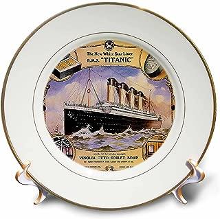 3dRose cp_149245_1 Vintage White Star Line Titanic Vinolia Otto Toilet Soap Advertising Poster Porcelain Plate, 8