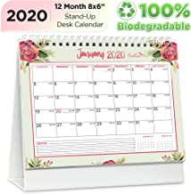 EcoEarth Biodegradable 8x6 Inch Standing Desk Calendar, 2020 Calendar Year Monthly Tent Style Flip Calendar, Blossoms Art Design