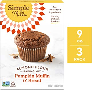 Simple Mills Almond Flour Mix, Pumpkin Muffin & Bread, 9 Ounce (Pack of 3) (PACKAGING MAY VARY)