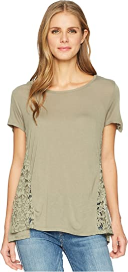 Knit Jersey Short Sleeve Top with Lace Trim