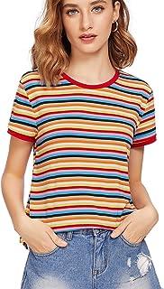 SheIn Women's Round Neck Short Sleeve Colorful Striped Crop Top